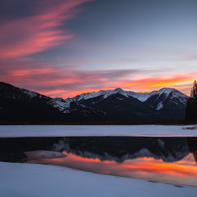 Vermillion Lakes Sunset by Craig Brown - Landscapes Mountains & Hills ( clouds, alberta, refelction, canada, image, travel, landscape, photo, photography, mountains, winter, nature, sunset, banff national park, craig, mount rundle, photographer, canon 5d mk ii, trees, rockies, craig brown, vermillion lakes, aberta )