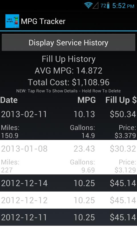 MPG Tracker (Fuel Calculator) - screenshot