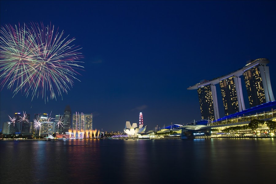 Singapore National Day Rehersal Fireworks by Benny Ng - City,  Street & Park  Skylines