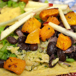 Butternut Squash & Black Bean Tacos With Apple-ginger Slaw