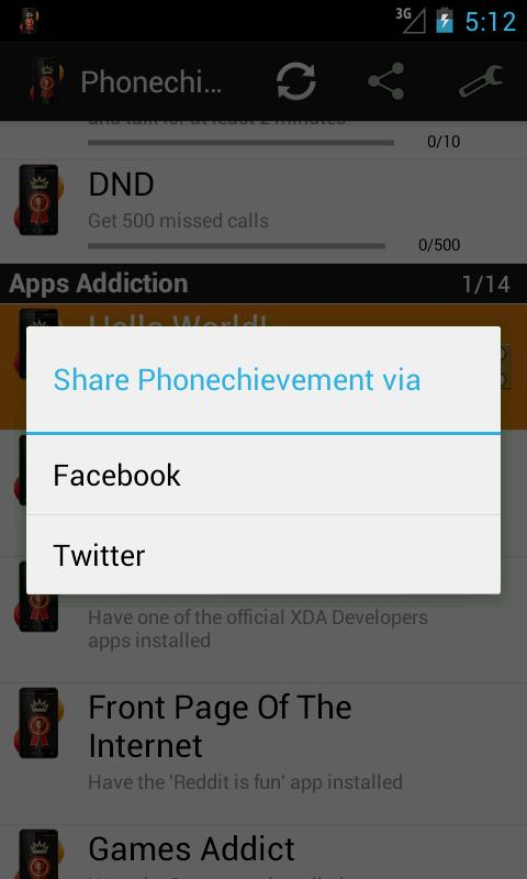 Phonechievements - screenshot