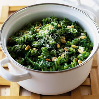 Fusilli With Glorious Green Spinach Sauce.