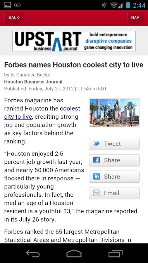 The Houston Business Journal- screenshot