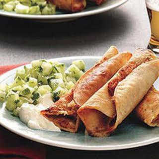 Bean Taquitos with Cucumber Salsa.