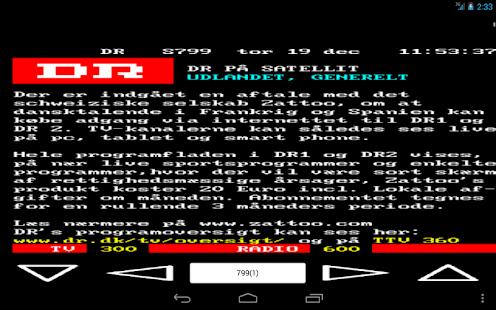 DR/TV2 Tekst TV - náhled