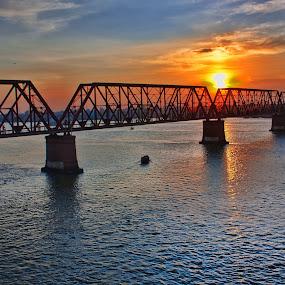 Sunset by Qamrul Hassan Shajal - Landscapes Sunsets & Sunrises ( sky, railway, sunset, beautiful sky, cloud, bridge, boat, river )