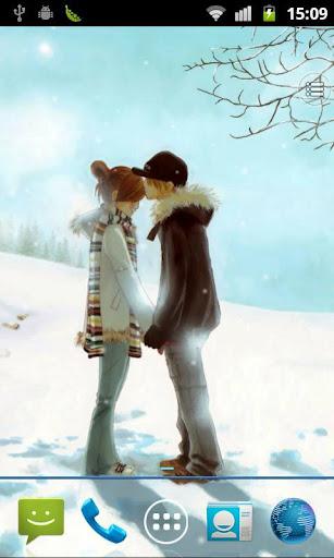 吻在冬季动态壁纸