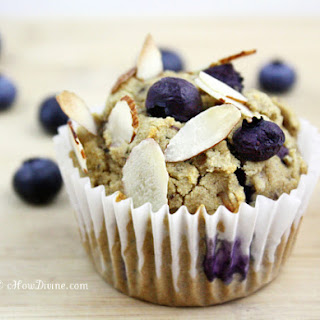 Blueberry Almond (Date-Sweetened) Muffins.