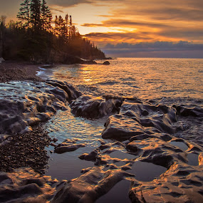 A North Shore Morning by Gary Hanson - Landscapes Waterscapes ( minnesota, .cascadfe river, waterscape, rocky, shoreline, north shore, morning,  )