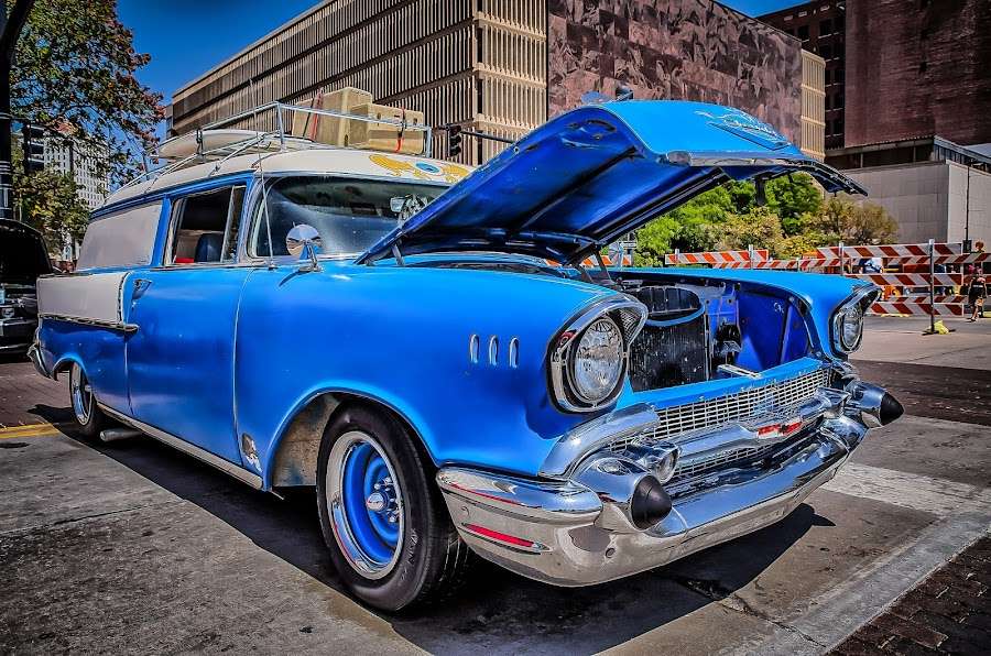 Blacktop Nationals - Blue Wagon by Ron Meyers - Transportation Automobiles