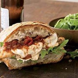 Smoked Mozzarella and Chicken Sandwiches with Italian Barbecue Sauce.