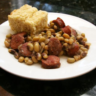 Purple Hull Peas and Spicy Sausage
