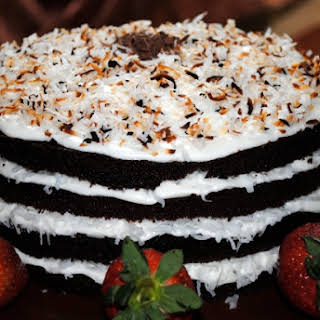 Chocolate Cake with Vanilla Coconut Frosting.