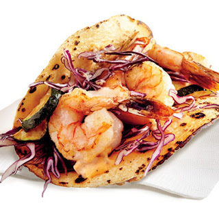 Shrimp and Veggie Tacos With Chipotle.