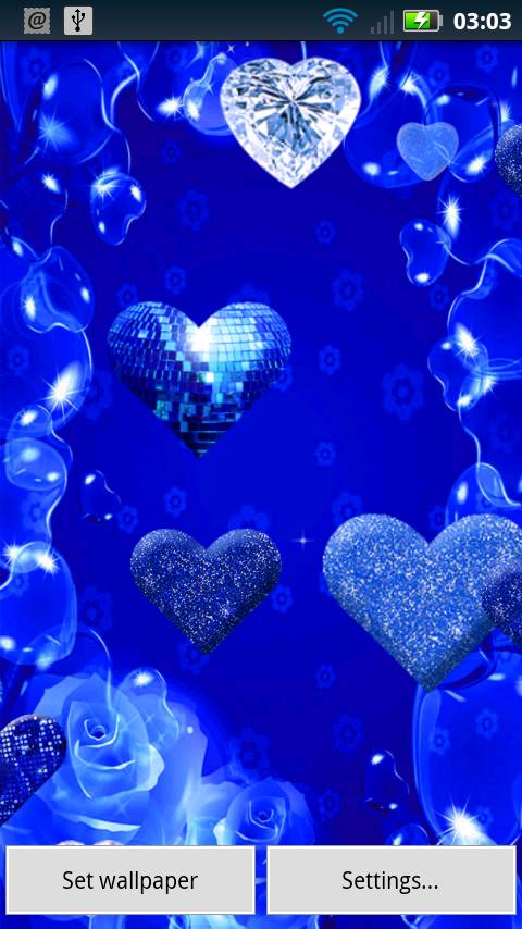 Blue Sparkle Hearts Android Reviews At Android Quality Index