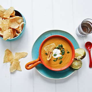 Creamy Avocado Chipolte Sweet Potato Soup.