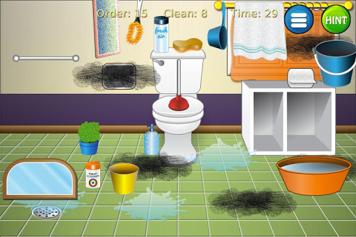Game cleaning toilets