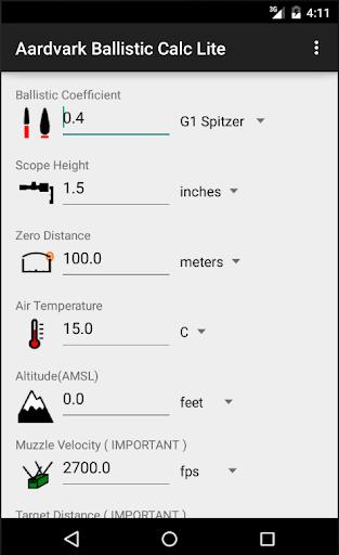 Aardvark Ballistic Calc Lite