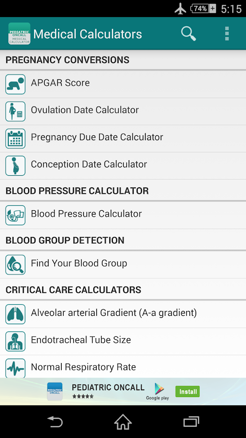 Medical Calculators - screenshot