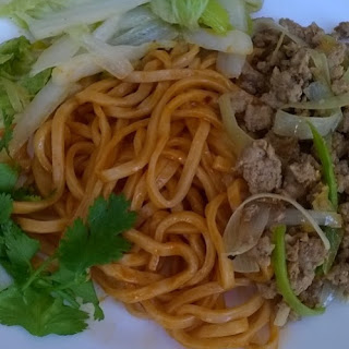 Noodles With Gochujang (Korean Bean Paste) And Meat Topping.