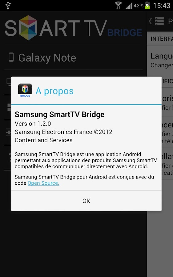 Samsung SmartTV Bridge - screenshot