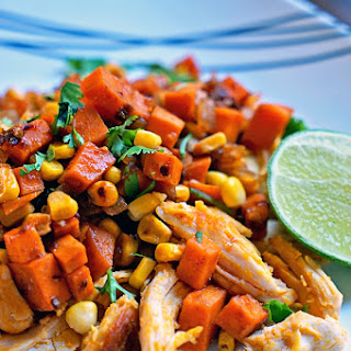 Southwest Sweet Potatoes Corn and Achiote Chicken.