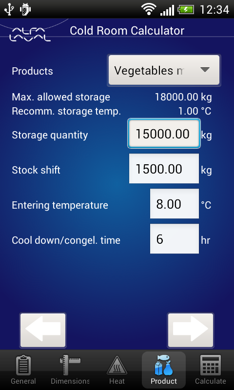 Cold Room Calculator - screenshot