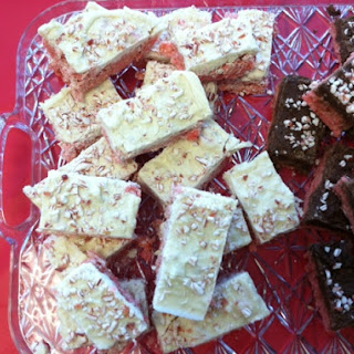 White Chocolate Covered Peppermint Rice Krispies Treats.