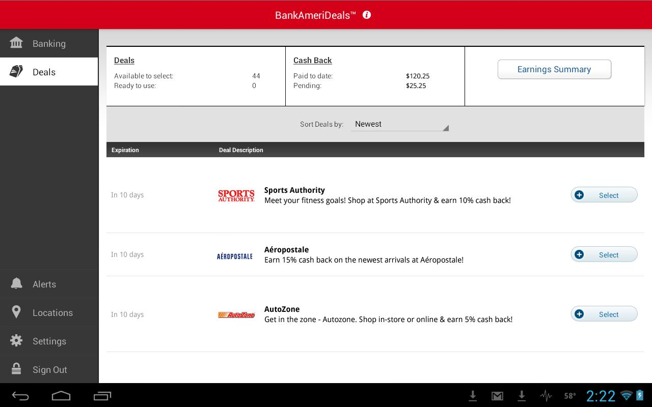 Bank of America for Tablet - screenshot