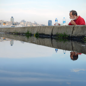 Morning on the Boshorus by Steve Jackson - People Street & Candids ( street reflection city istanbul turkey )