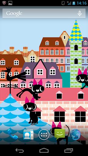 【猫たちの家並み】ライブ壁紙02