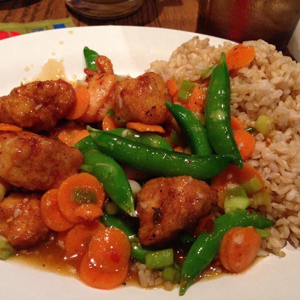 GF spicy chicken from the GF menu