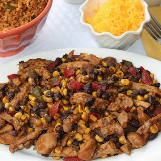Easy Mexican Chicken and Beans Served with Spicy Tomato Rice