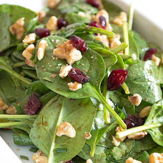 Baby Spinach Salad with Maple Balsamic Vinaigrette.