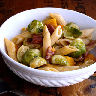 Penne with Brown Butter Brussels Sprouts & Butternut Squash.