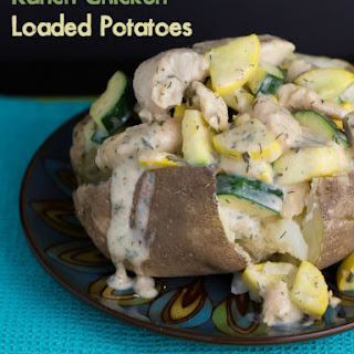 Ranch Chicken and Vegetable Loaded Baked Potatoes