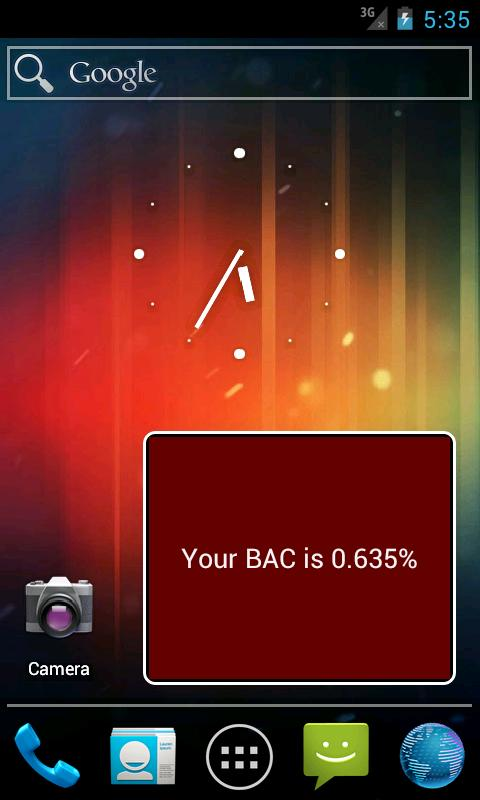 Blood Alcohol Content Widget- screenshot