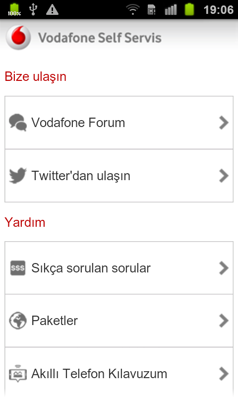 Vodafone Self Servis - screenshot