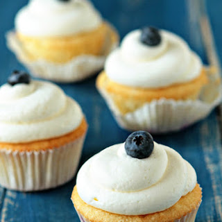 Blueberry Cupcakes with Cream Cheese Frosting.