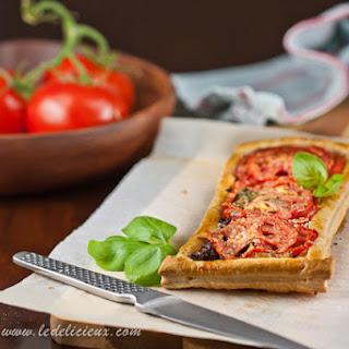 Caramelised Onion, Tomato and Basil Tart