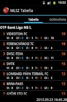 Screenshot of MLSZ Tabella