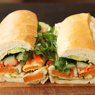 Vietnamese Sandwiches with Tempura Sweet Potato and Avocado (Vegan Banh Mì).