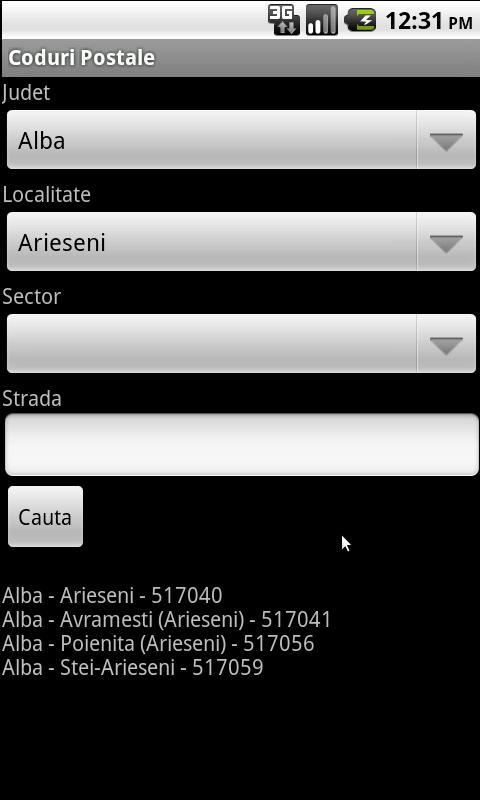 Romanian Postal Codes- screenshot