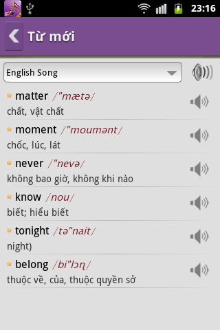 Hoc Tieng Anh Qua Bai Hat - screenshot