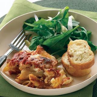 Baked Ziti with Crunchy Italian Salad and Garlic Bread.