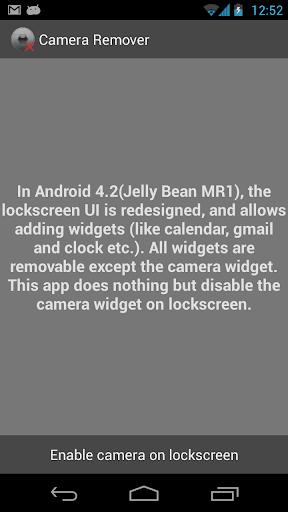 Camera Widget Remover
