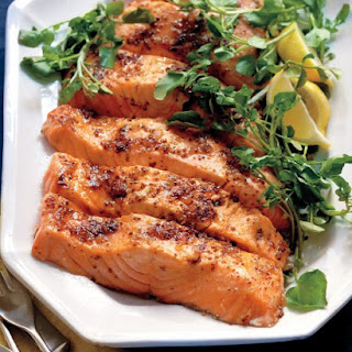 Salmon with Brown Sugar and Mustard Glaze.