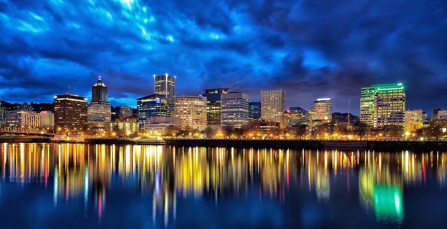 Portland CityScape April 2014 by Lee Gochenour - City,  Street & Park  Skylines ( oregon, portland, portlandia, rose city, cityscape, pdx, skyline. river. )