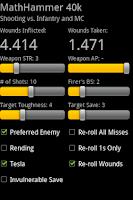 Screenshot of MathHammer 40k
