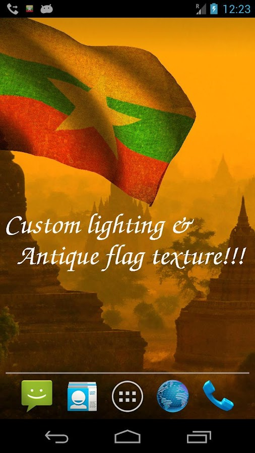 3D Myanmar Flag Live Wallpaper - screenshot